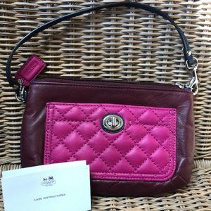 Coach Wristlet NWOT Purpley Pink Quilted Pocket